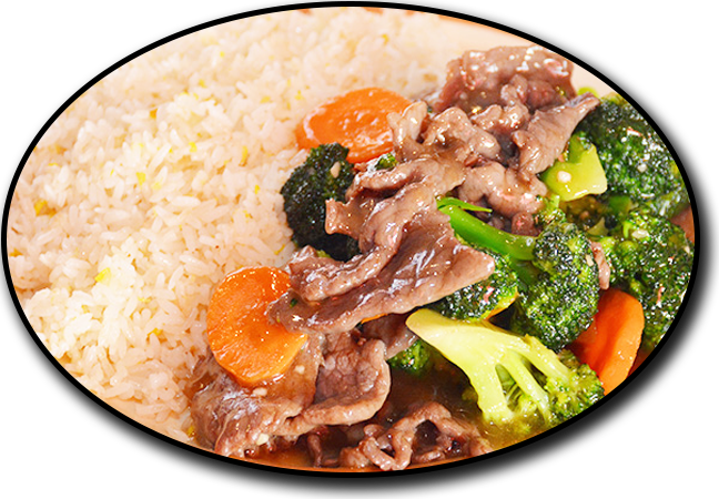 beef and brocolli with fried rice